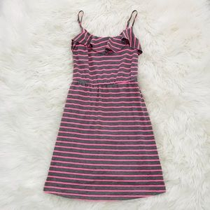 Mossimo Co. Pink striped swing dress ruffle hem